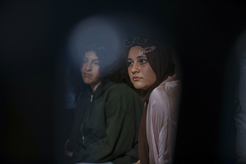 Dalal Oyoun, 17, left, and Hana Nashawati, 18, in Orange County.