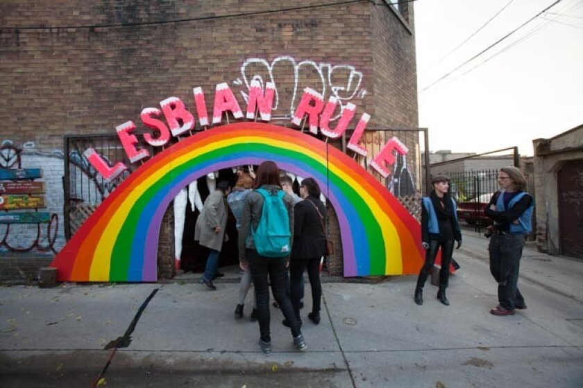 Toronto artists Allyson Mitchell and Deirdre Logue will unveil KillJoy's Kastle, alesbian feminist haunted house art installation, in West Hollywood's Plummer Park this weekend. The piece was first shown in Canada, above, in 2013.