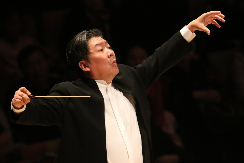 Long Yu conducts the China Philharmonic Orchestra in Walt Disney Hall.