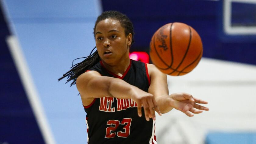 Mount Miguel's Sylena Peterson (shown in an earlier game) scored 28 points in the Matadors' win over Mater Dei Catholic.