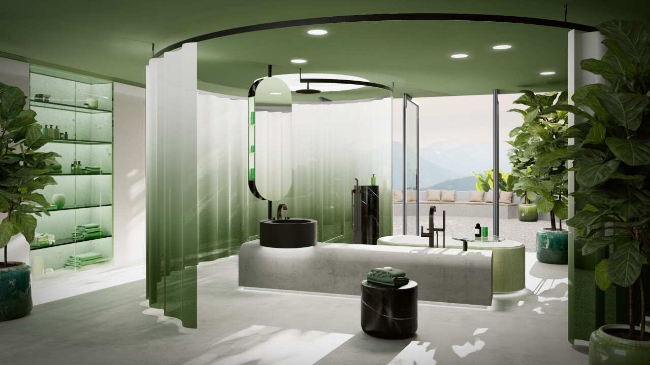 """Dornbracht's """"Oasis"""" bathroom design offers indoor/outdoor elements and constantly shifting light patterns."""