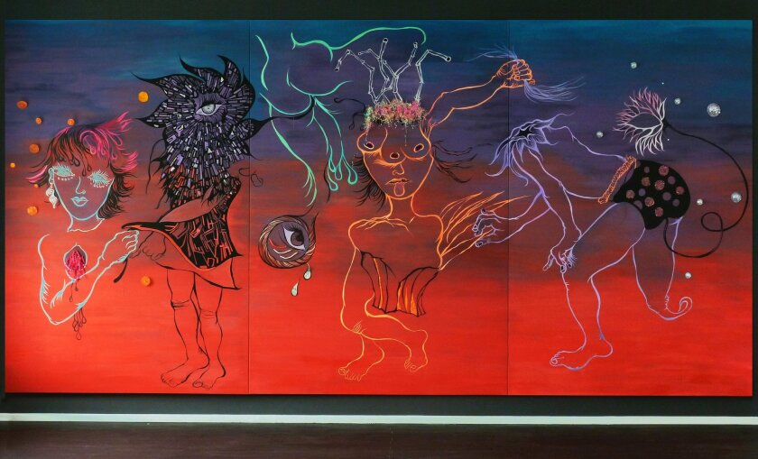 """Chitra Ganesh: """"The Future is the Past"""" (2011); site-specific wall work on canvas. Photo: Museum of Contemporary Art San Diego"""