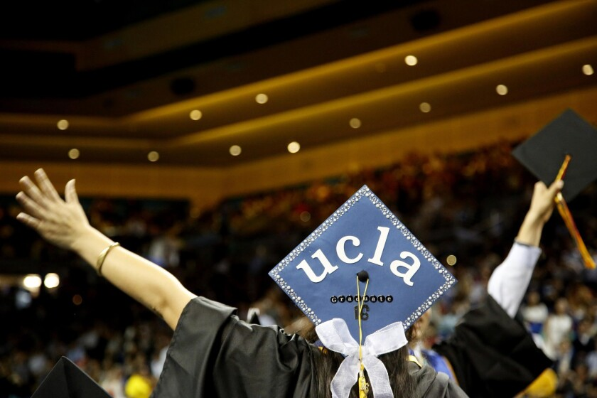 New UCLA graduates celebrate at the College of Letters and Science commencement ceremony on June 7.