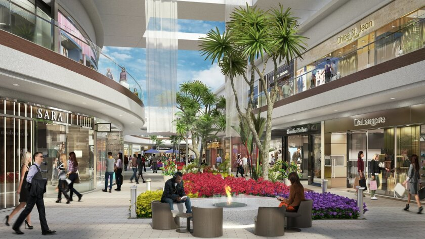 """Westfield has renamed Plaza Camino Real to Westfield Carlsbad and is planning a $300 million renovation for the mall that involves tearing the roof off and creating a more luxurious, """"beach chic"""" atmosphere."""