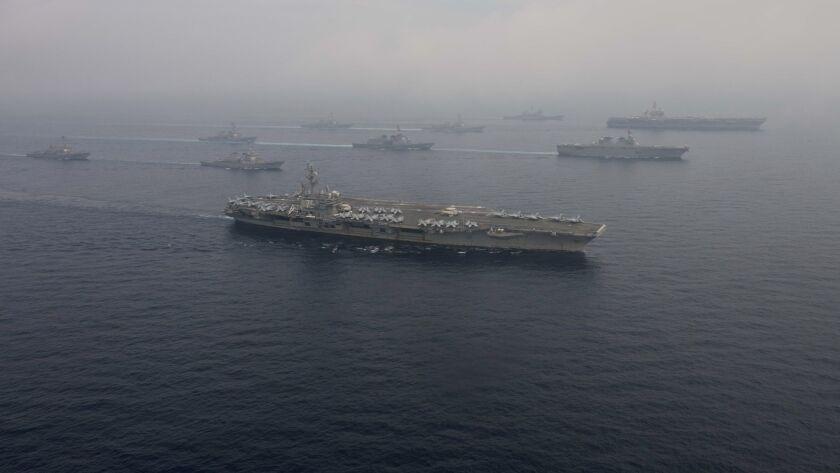 170601-N-OY799-1389 WESTERN PACIFIC (June 1, 2017) The Carl Vinson strike group, including USS Carl