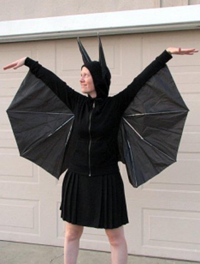 Old umbrellas work for bat wings
