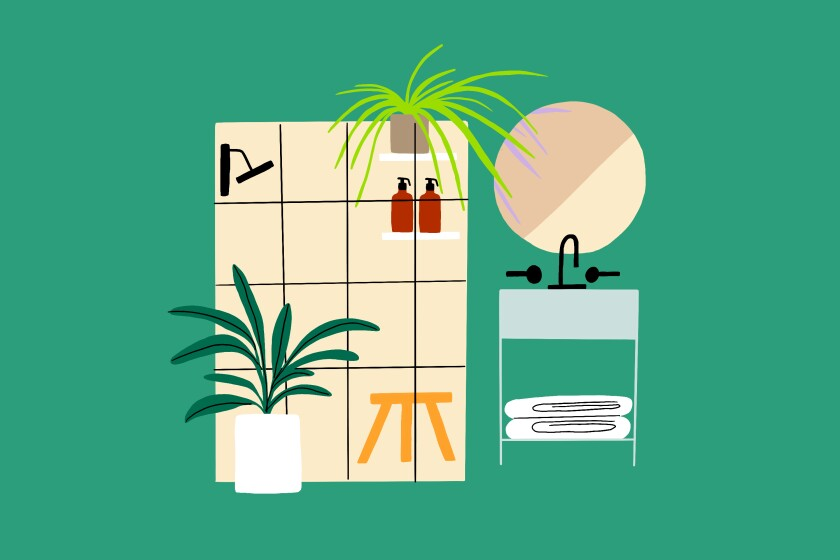 An illustration of a bathroom with houseplants.