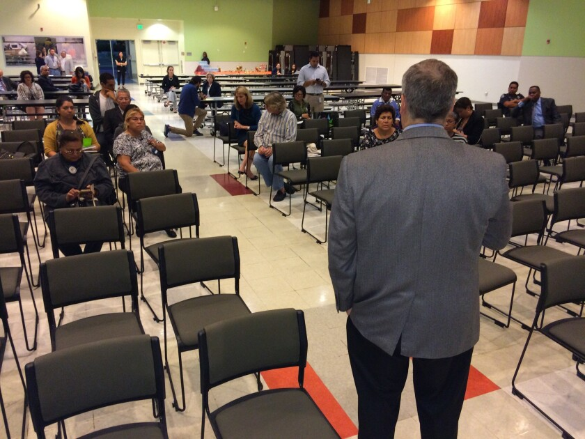 About two dozen people showed up Monday evening to the Roybal Learning Center just west of downtown, to talk about what they want in a new L.A. schools chief. Consultant Hank Gmitro, a retired superintendent, led the meeting.