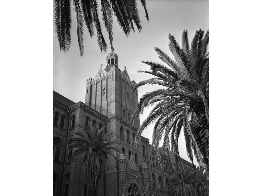 Dec. 1955: Tower of the Daughters of Charity of St. Vincent de Paul Los Angeles Orphanage at 917 S.