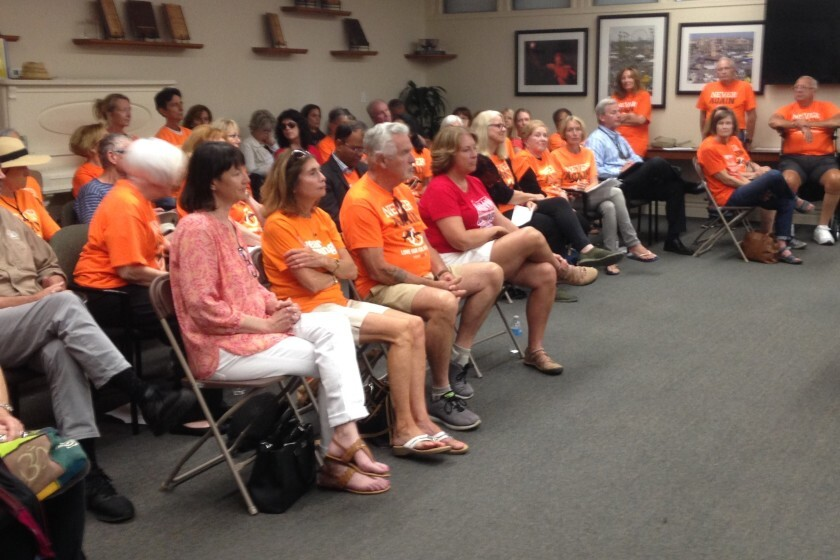 NeverAgainCA members filled the Del Mar fair board meeting Tuesday, July 16.