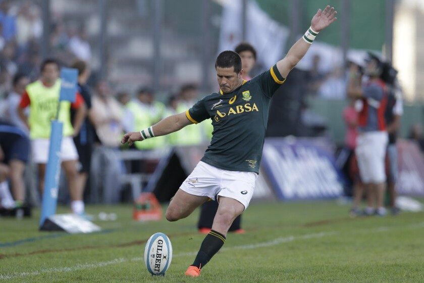 FILE - In this Saturday, Aug. 23, 2014 file photo, South Africa's Morne Steyn kicks to score on a penalty against Argentina during a Rugby Championship match in Salta, Argentina. South Africa has recalled flyhalf Morne Steyn to a 46-man initial squad for the British and Irish Lions series starting next month. The 36-year-old Steyn hasn't played a test in five years. (AP Photo/Victor R. Caivano)