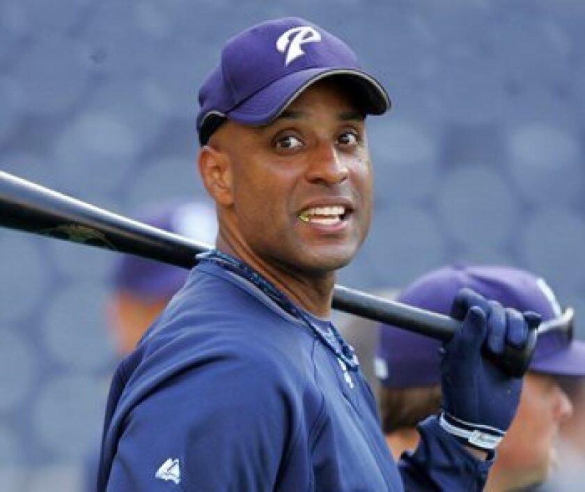 Padres' new acquisition Tony Clark takes batting practice prior to the season opener against the Houston Astros. Sean M. Haffey/Union-Tribune