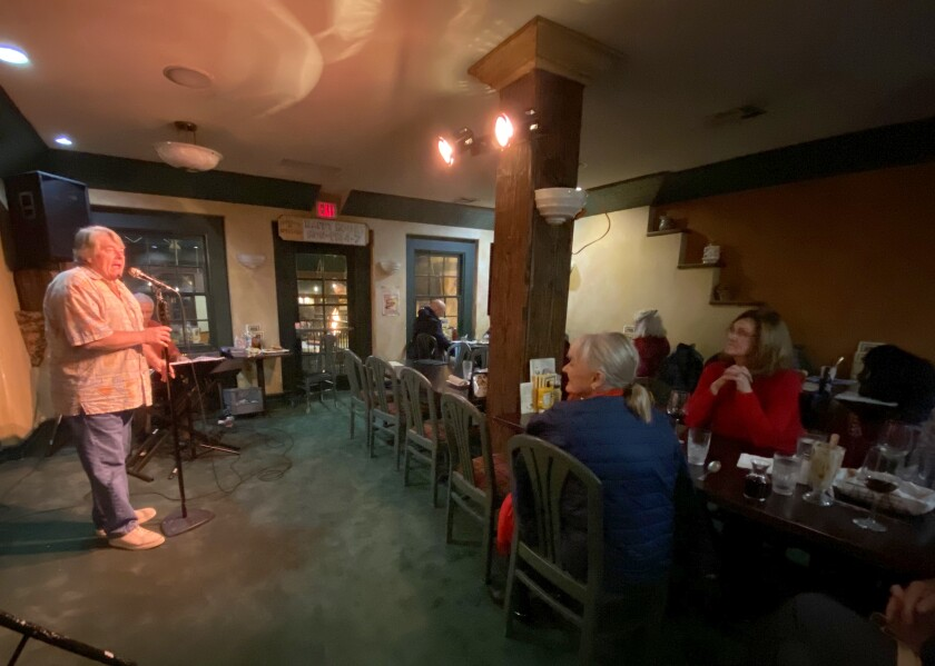 About 20 to 30 people attend OpenMic Cabaret every Monday night at Hennessey's Tavern in La Jolla.
