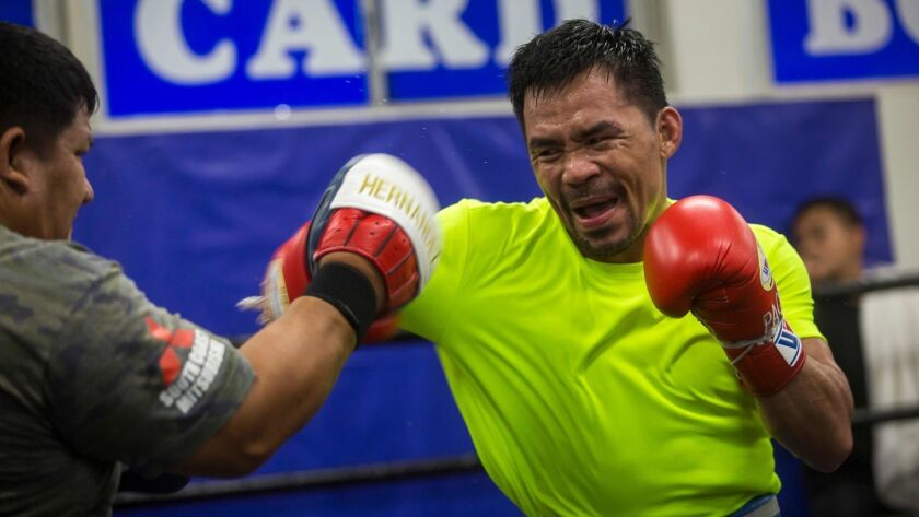 Manny Pacquiao takes part in a training session at Wild Card Boxing in L.A. on June 20. Pacquiao is set to face undefeated Keith Thurman on July 20.