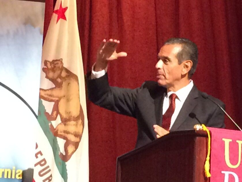Former L.A. Mayor Antonio Villaraigosa speaks during a forum on education at USC on Monday. In an interview, Villaraigosa endorsed a plan to more than double the number of charter schools in Los Angeles.