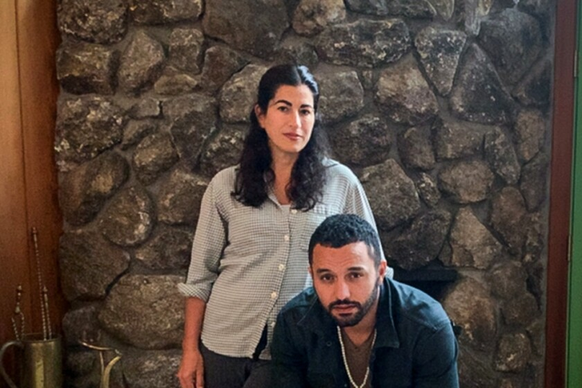 Jehane Noujaim and Karim Amer, seated, were photographed in Boston via FaceTime.
