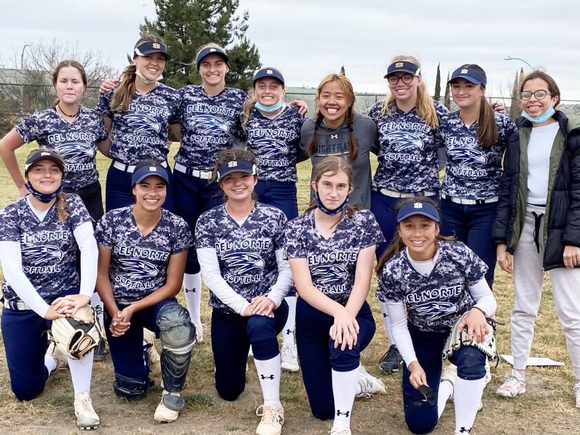 The 2020-21 Del Norte High junior varsity softball team.