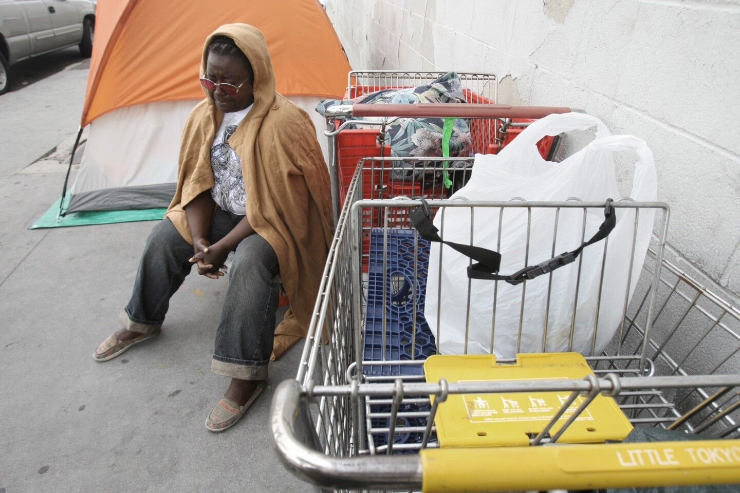 Annie Moody sits next to her tent on Towne Avenue at 6th Street on in the skid row area of Los Angeles.