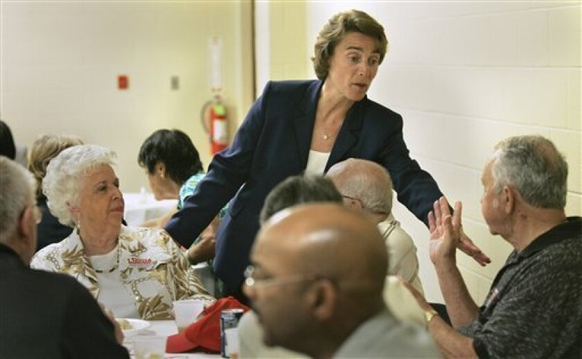Sen. Blanche Lincoln, D-Ark. greets supporters in Forrest City, Ark., Monday, June 7, 2010. Lincoln is being challenged in her re-election bid by Arkansas Lt. Gov. Bill Halter in the June 8 Democratic primary election runoff. (AP Photo/Danny Johnston)