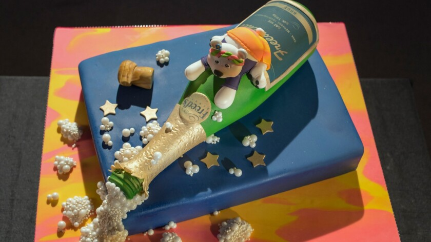 A close up of the Alaska Bachelorette Cake, as seen on Food Network's Vegas Cakes Episode 2.