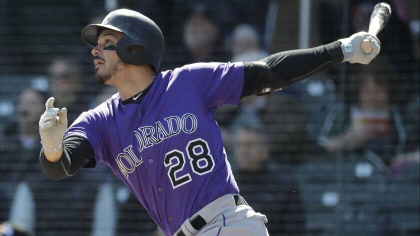 Colorado Rockies' Nolan Arenado bats against the Arizona Diamondbacks during a spring baseball game