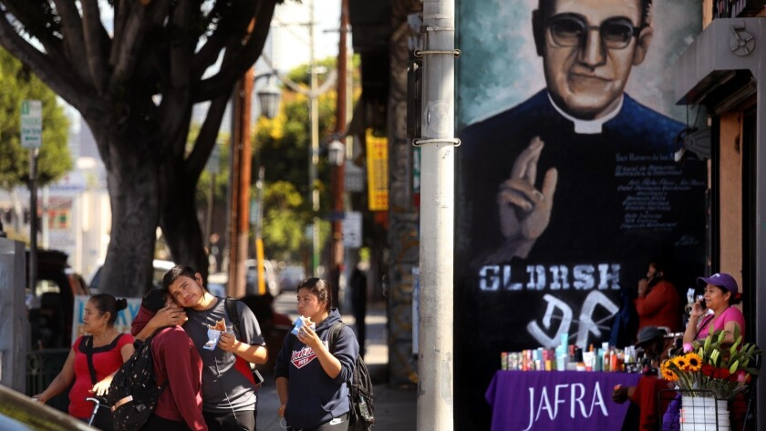 LOS ANGELES, CA - OCTOBER 12, 2018 - - A mural of Monse?or Oscar Romero seems to bless pedestrians w