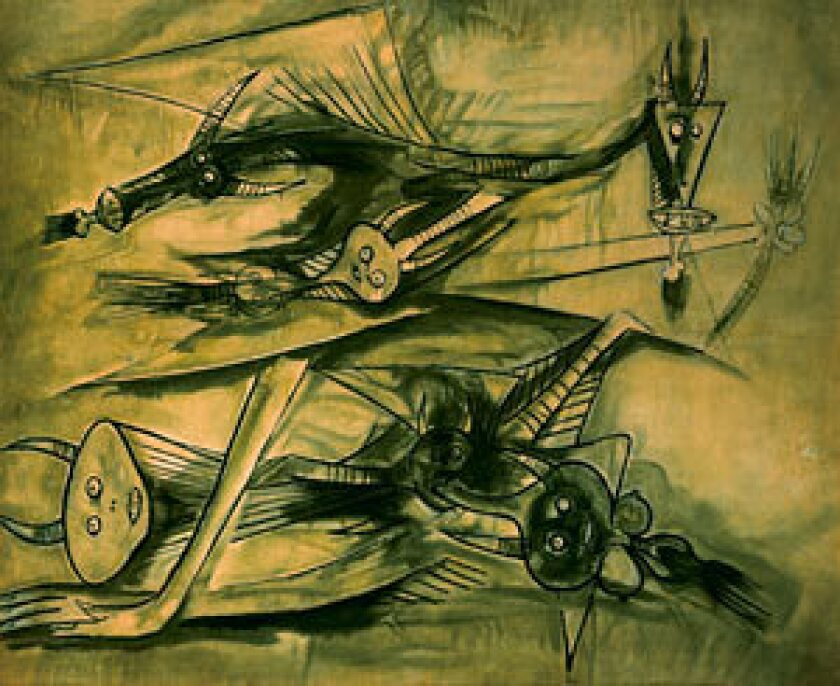 MIXED HERITAGE: Wifredo Lam's untitled painting, circa 1947, is one of many in an exhibition at MOLAA dedicated to the late Cuban artist. Also on view in a parallel show are the works of Carlos Luna.