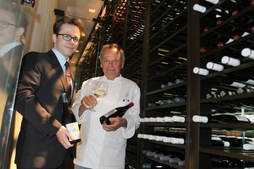 Chef Wolfgang Puck with Sommelier Chris Miller in the new wine cellar at Spago.