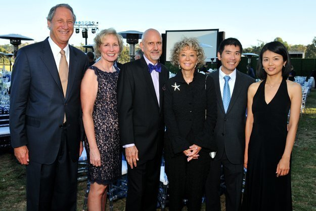 David Bialis (Voices board chair), Sharon Lawrence (Voices president/CEO), Dwight Hare and Stephanie Bergsma (event co-chairs), George Lai (Voices board), Chihua Chen (Voices supporter)