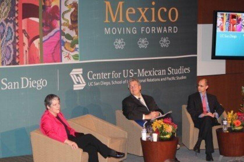 University of California President Janet Napolitano; Peter Cowhey, dean of UCSD's School of International Relations and Pacific Studies; and UCSD graduate Antonio Ortiz-Mena, a member of Mexico's NAFTA negotiation team  Pat Sherman