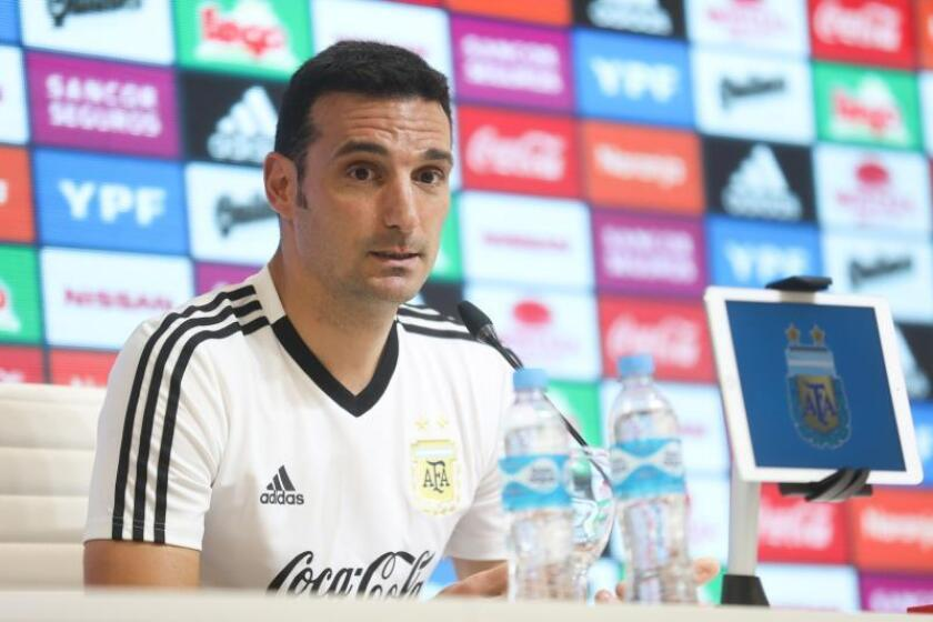 Argentine national soccer team head coach Lionel Scaloni gives a press conference in Ezeiza, Argentina, on March 7, 2019, in which he announced his list of call-ups - including FC Barcelona superstar Lionel Messi - for friendlies on March 22 and March 26 against Venezuela and Morocco, respectively. EPA-EFE/Juan Ignacio Roncoroni