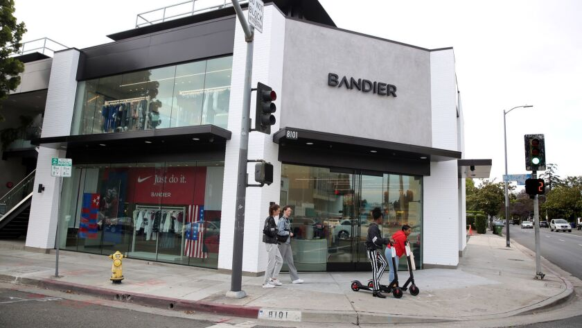 LOS ANGELES, CA-MAY 15, 2019: People walk past Bandier's new location at 8101 Melrose Ave. on May 15