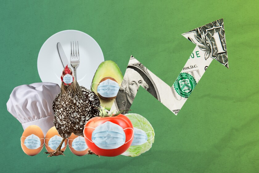 Photo illustration of a chicken wearing a mask, a chefs hat, plate and utensils