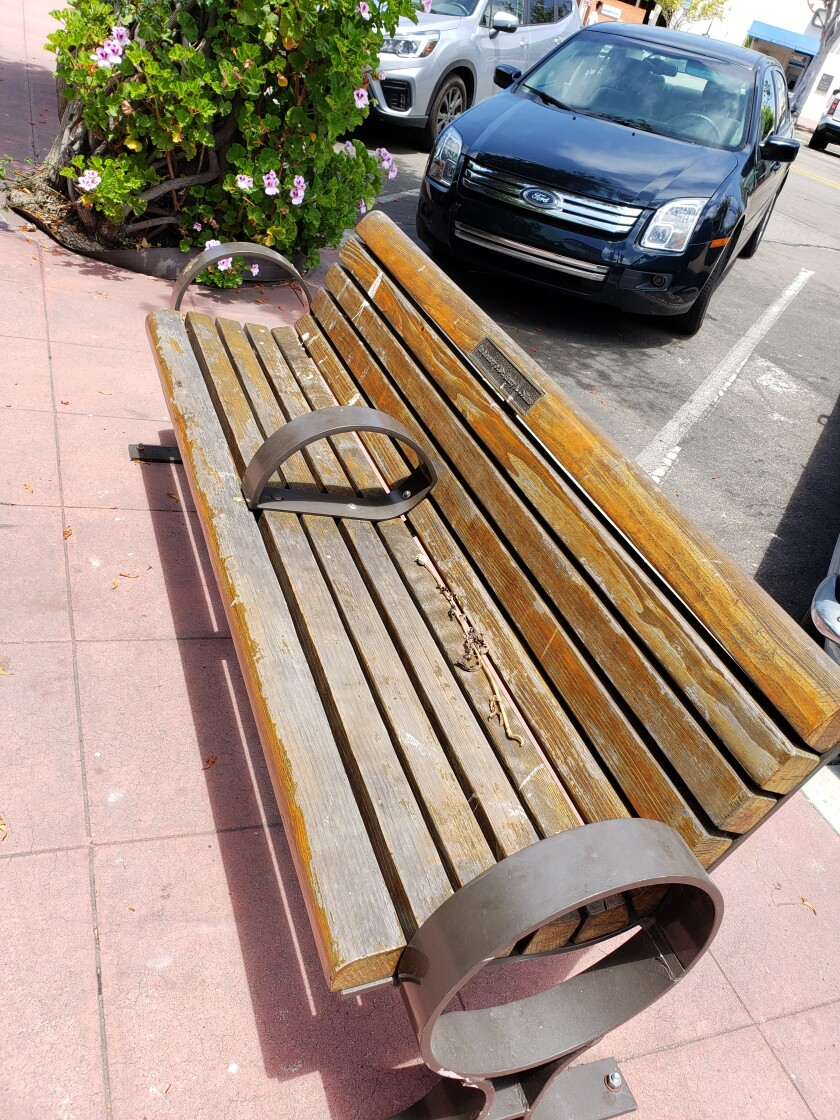 Worn wood benches on La Jolla's main streets will be refurbished in coming weeks.