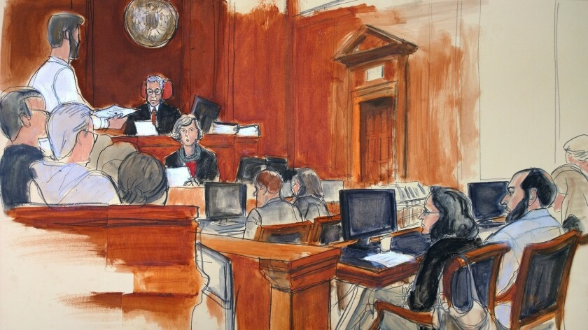In this courtroom artist's drawing, Ahmad Khan Rahimi, right, listens as the jury foreman, standing
