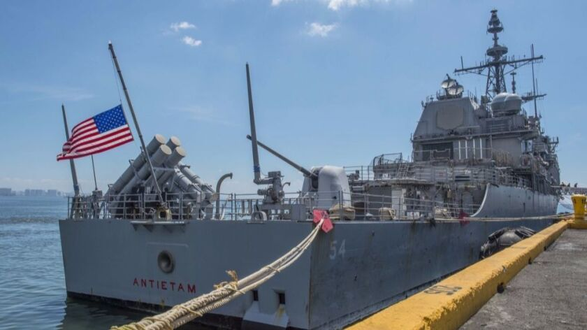The guided-missile cruiser Antietam is moored pier side in Manila during a March visit to Manila. Antietam is assigned to the 7th Fleet area of operations in the Pacific region.