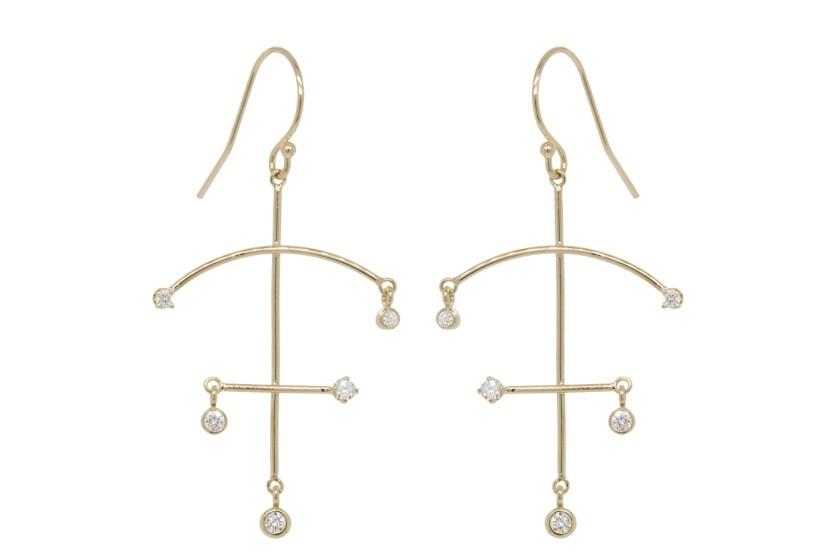 Zoë Chicco 14-karat gold bezel set white-diamond earrings