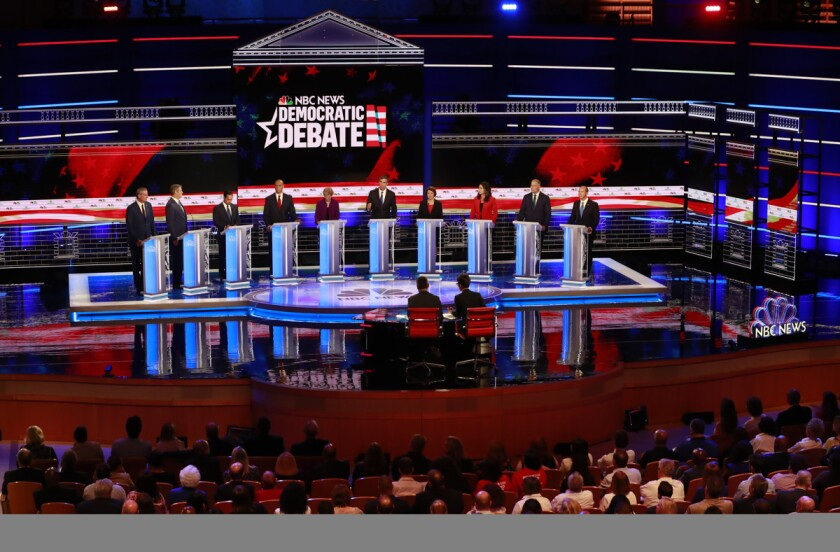 The Democratic primary debate hosted by NBC News on June 26, 2019, in Miami.