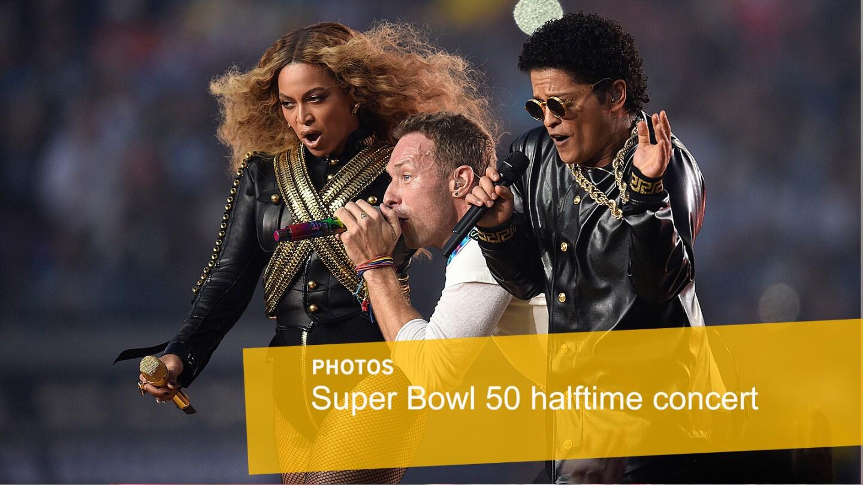 Beyonce, Chris Martin and Bruno Mars perform at Super Bowl 50 in Santa Clara, California.