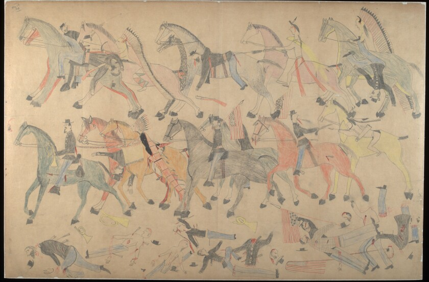 A scene from the Battle of the Little Bighorn drawn by Red Horse, a Lakota Sioux chief who fought in the battle. It's one of a dozen drawings that will be shown in an exhibition at Stanford University, picked from the 42 that Red Horse created from memory five years after the 1876 battle.
