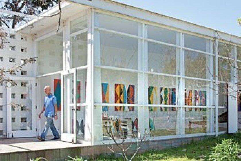 Kim MacConnel leaves his studio in Encinitas. Photo: Pablo Mason