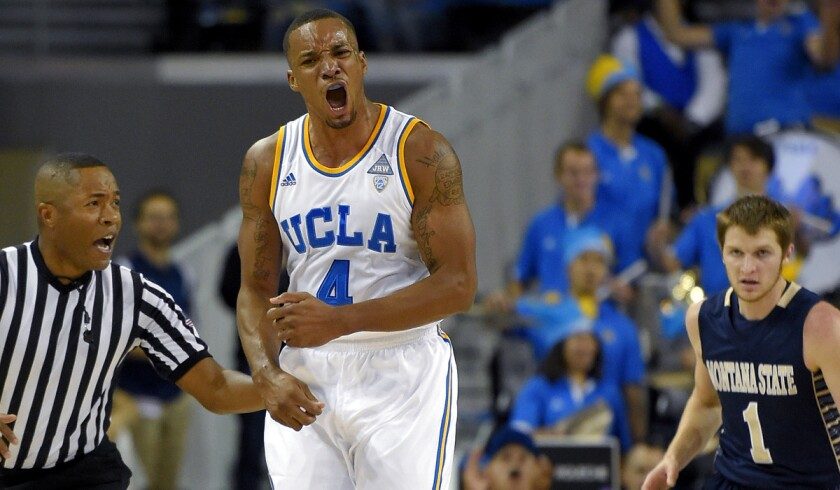 UCLA guard Norman Powell reacts after scoring against Montana State on Friday night.