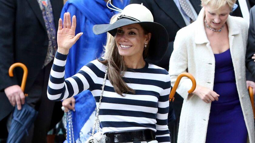 Tara Palmer-Tomkinson, Prince Charles' goddaughter, leaves after attending a wedding in 2013.