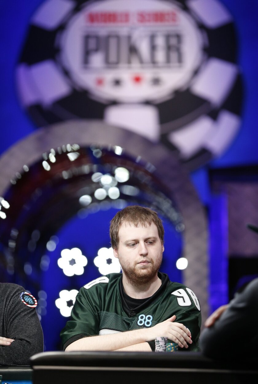 Joseph McKeehen plays at the World Series of Poker Sunday, Nov. 8, 2015, in Las Vegas. Sunday night was the first of three days of poker-playing before crowning a new champion and awarding more than $7 million to the winner. (AP Photo/John Locher)