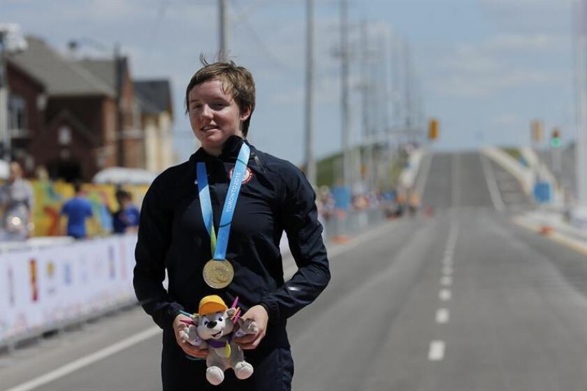 En la imagen, la ciclista estadounidense Kelly Catlin. EFE/Archivo