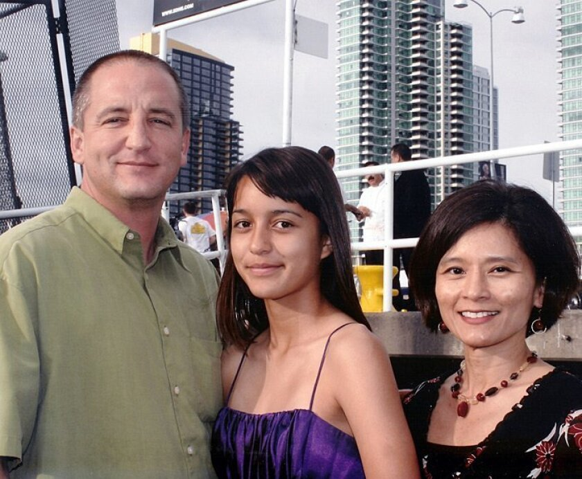 Mark Saylor, 45, his wife, Cleofe (right), 45, and their daughter Mahala, 13.