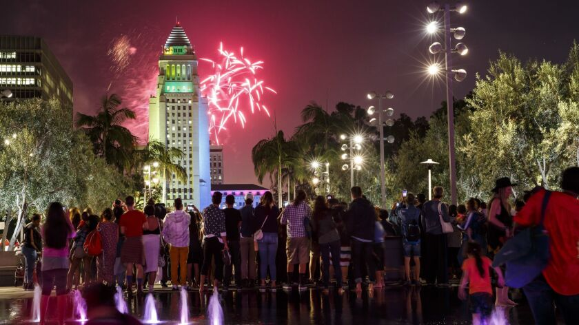 Fireworks at the 4th annual Grand Park + Music Center's Fourth of July Block Party in Los Angeles, Calif.