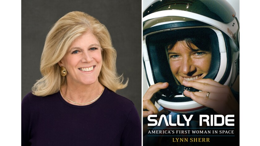 """Author Lynn Sherr and the cover of her book, """"Sally Ride: America's First Woman in Space."""""""