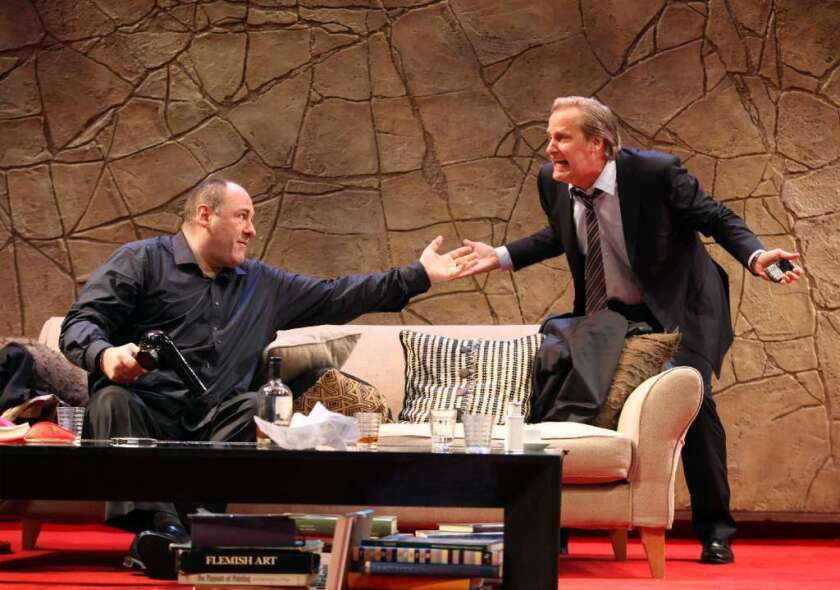 """James Gandolfini, left, and Jeff Daniels in """"God of Carnage,"""" by Yasmina Reza, at the Ahmanson Theatre in Los Angeles in 2011."""