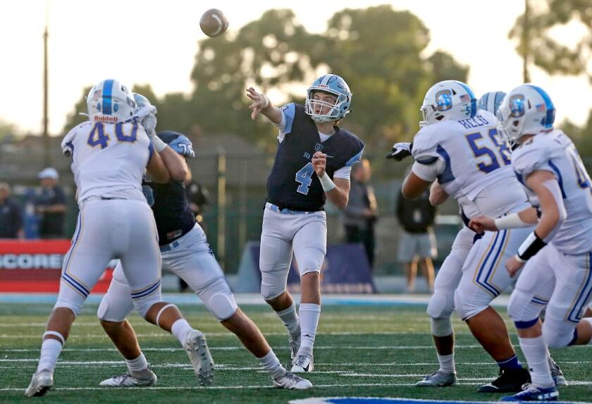 Corona del Mar quarterback Ethan Garbers completes a pass